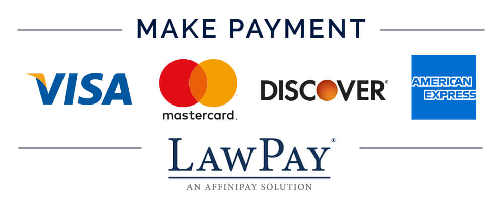 Make payment with VISA, MasterCard, Discover, American Express through Law Pay